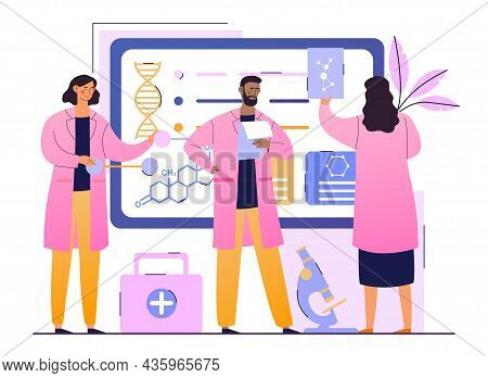 Medical Research In Laboratory. Biochemical Science Lab Staff Performing Various Experiments. Scient