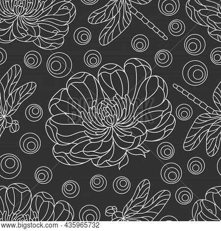 Seamless Pattern With Light Contour Flowers And Dragonflies In The Style Of Stained Glass, Flowers A