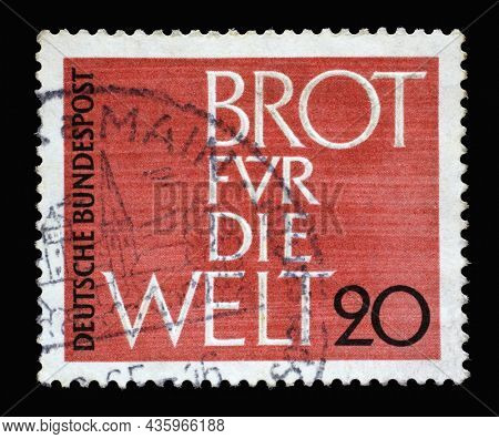 ZAGREB, CROATIA - JUNE 27, 2014: Stamp printed in Germany shows Bread for the World, Issued in connection with the Advent Collection of the Protestant Church in Germany, circa 1962
