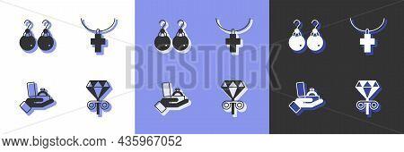 Set Stud Earrings, Earrings, Diamond Engagement Box And Christian Cross Chain Icon. Vector