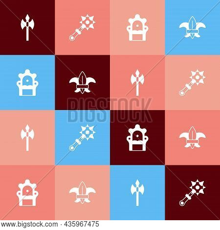 Set Pop Art Medieval Axe, Mace With Spikes, Throne And Fleur De Lys Or Lily Flower Icon. Vector