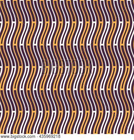 Seamless Fashion Striped Vector Pattern. Wavy Lines, Stripes. Yellow,white Stripes On Purple Backgro
