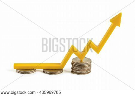 Inflation Rising Prices. Financial Market Growth Isolate On White Background. The Yellow Arrow On Th