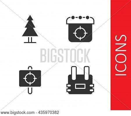 Set Bulletproof Vest, Tree, Target Sport And Icon. Vector