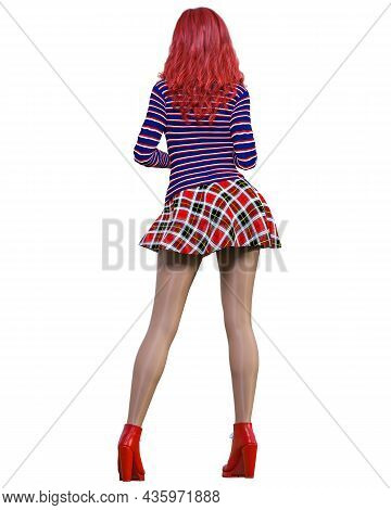 3d Beautiful Redhead Woman Short Red Skirt, Sweater, Tights And Boots.spring-autumn Collection Cloth