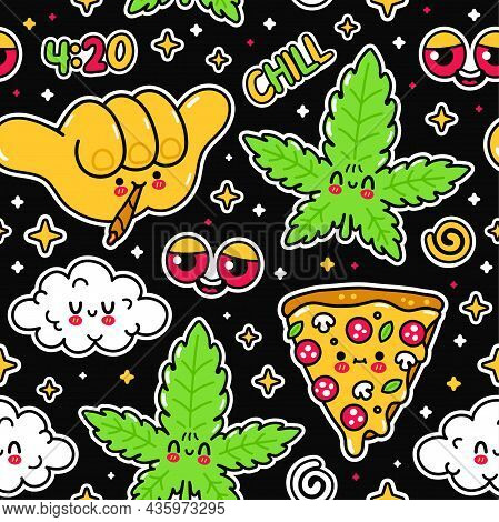 Weed Marijuana, Shaka Gesture, Pizza, Cloud, Red Eyes Seamless Pattern. Vector Doodle Line Cartoon K