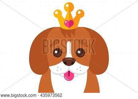 Beagle Puppy Head On A White Background. Flat Vector Illustration.