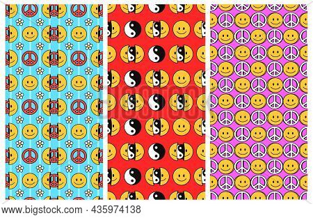 Smile Face 3 Seamless Patterns With Yin Yang And Pacific Set Collection. Vector Hand Drawn Doodle Ca