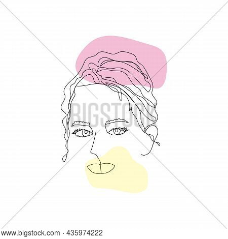 One Line Art Modern Female Portrait. Abstract Woman Face One Line Drawing. Contemporary Feminine Por
