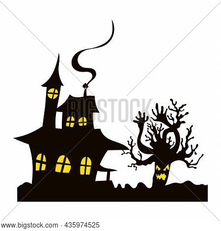 Scary House And Tree Halloween. Illustration Flat
