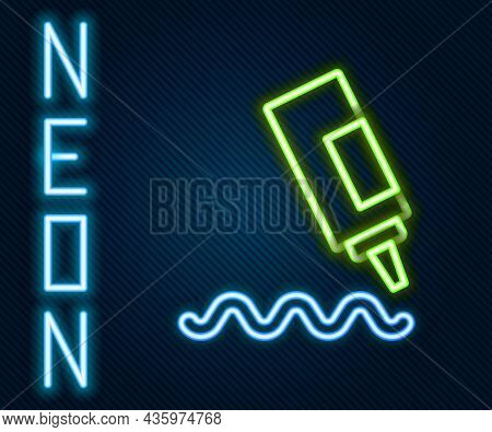 Glowing Neon Line Sauce Bottle Icon Isolated On Black Background. Ketchup, Mustard And Mayonnaise Bo