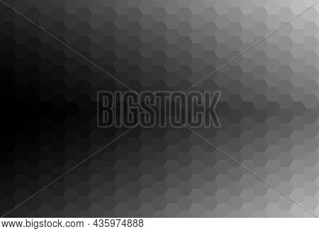 Abstract Hexagon Shape Pattern Background. Gradient Black Fades To Gray. Texture Design For Publicat