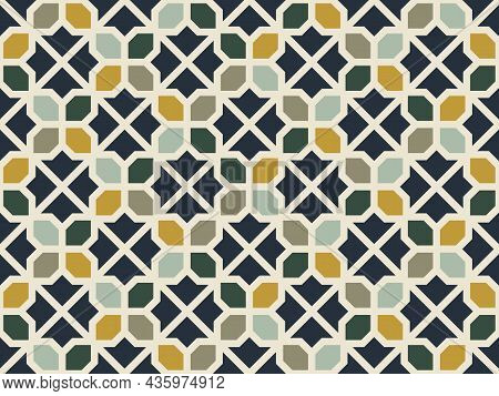 Square And Octagon Geometric Patterns. Seamless Abstract Background. Retro Tones. Texture Design For