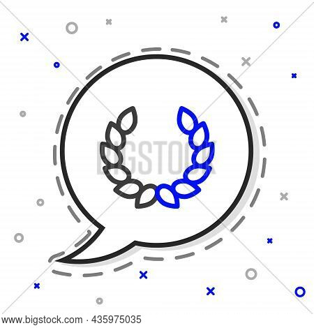 Line Laurel Wreath Icon Isolated On White Background. Triumph Symbol. Colorful Outline Concept. Vect