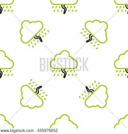 Line Cloud With Rain And Lightning Icon Isolated Seamless Pattern On White Background. Rain Cloud Pr