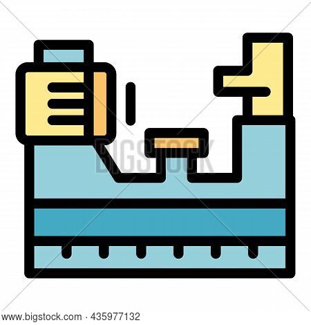 Workshop Lathe Icon. Outline Workshop Lathe Vector Icon Color Flat Isolated