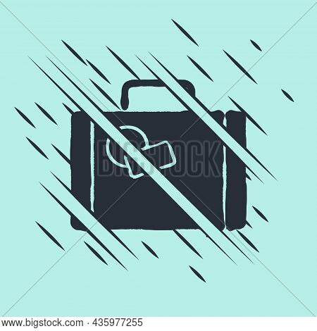 Black Suitcase For Travel Icon Isolated On Green Background. Traveling Baggage Sign. Travel Luggage