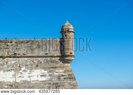 Watchtower Of Castillo De San Marcos In St. Augustine, Florida Fl, Usa. This Fort Is The Oldest And