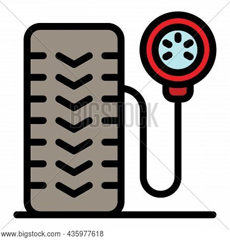 Inflate Tire Icon. Outline Inflate Tire Vector Icon Color Flat Isolated