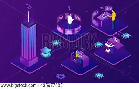 Professional Business Teleworkers. Modern Media, Connecting Online And Working From Home For Corpora