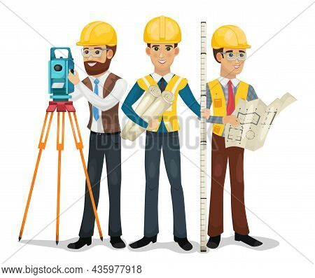 Engineering Team. Civil Engineer, Surveyor And Architect Isolated Vector Illustration.