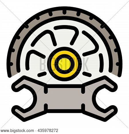 Key Repair Tire Icon. Outline Key Repair Tire Vector Icon Color Flat Isolated