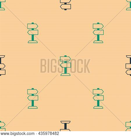 Green And Black Road Traffic Sign. Signpost Icon Isolated Seamless Pattern On Beige Background. Poin