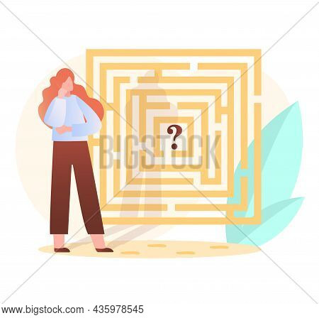 Woman Looking For Way Out Of Maze. Female Character Thinking About Solving Problem. Metaphor For Bra