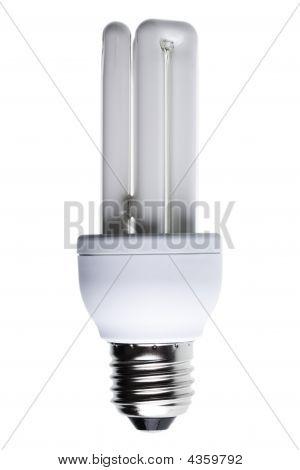 Energy Saving Lightbulb Isolated Against White