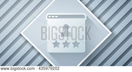 Paper Cut Consumer Or Customer Product Rating Icon Isolated On Grey Background. Paper Art Style. Vec