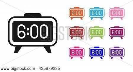 Black Digital Alarm Clock Icon Isolated On White Background. Electronic Watch Alarm Clock. Time Icon