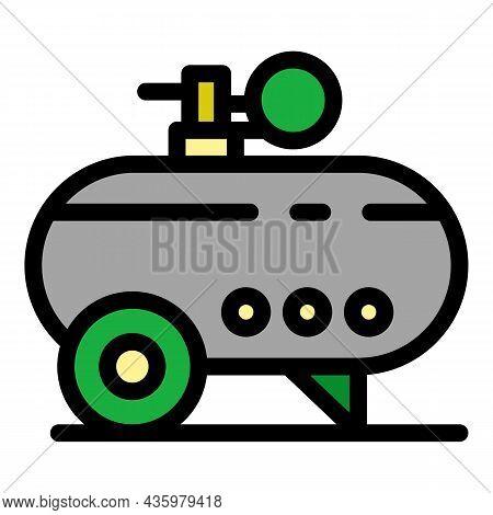 Instrument Air Compressor Icon. Outline Instrument Air Compressor Vector Icon Color Flat Isolated