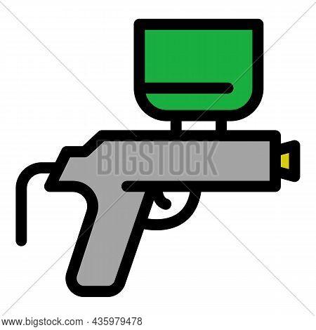 Air Compressor Gun Icon. Outline Air Compressor Gun Vector Icon Color Flat Isolated