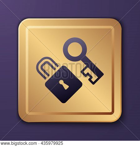 Purple Lock With Key Icon Isolated On Purple Background. Love Symbol And Keyhole Sign. Gold Square B
