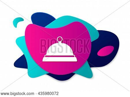 Color Covered With A Tray Of Food Icon Isolated On White Background. Tray And Lid Sign. Restaurant C