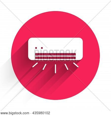 White Air Conditioner Icon Isolated With Long Shadow Background. Split System Air Conditioning. Cool