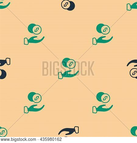 Green And Black Donation Hand With Money Icon Isolated Seamless Pattern On Beige Background. Hand Gi