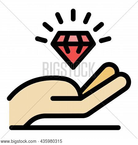 Hand And Crystal Icon. Outline Hand And Crystal Vector Icon Color Flat Isolated