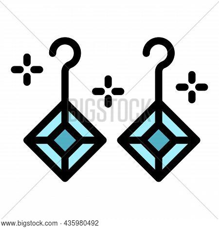 Earrings Jewel Icon. Outline Earrings Jewel Vector Icon Color Flat Isolated
