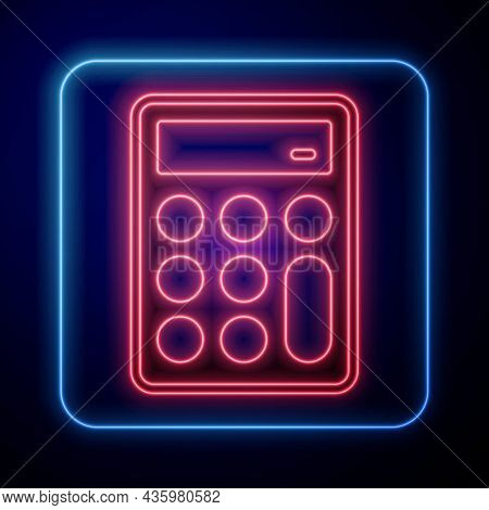 Glowing Neon Calculator Icon Isolated On Black Background. Accounting Symbol. Business Calculations