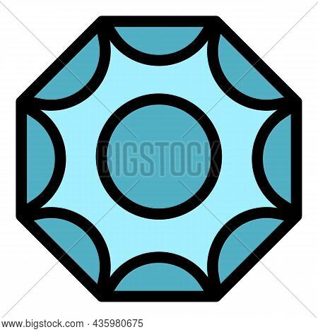 Gem Pendant Icon. Outline Gem Pendant Vector Icon Color Flat Isolated