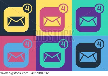 Pop Art Envelope Icon Isolated On Color Background. Received Message Concept. New, Email Incoming Me