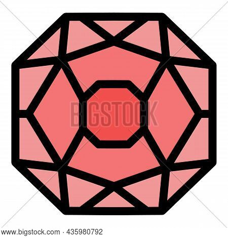 Gemstone Jewel Icon. Outline Gemstone Jewel Vector Icon Color Flat Isolated