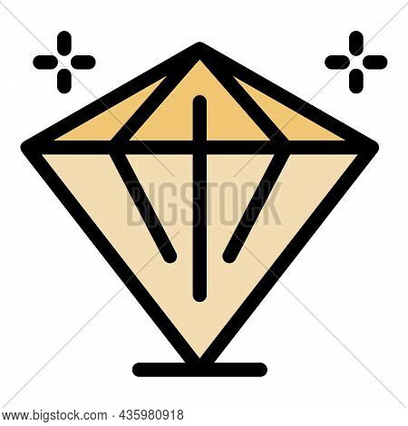 Crystal Stone Icon. Outline Crystal Stone Vector Icon Color Flat Isolated