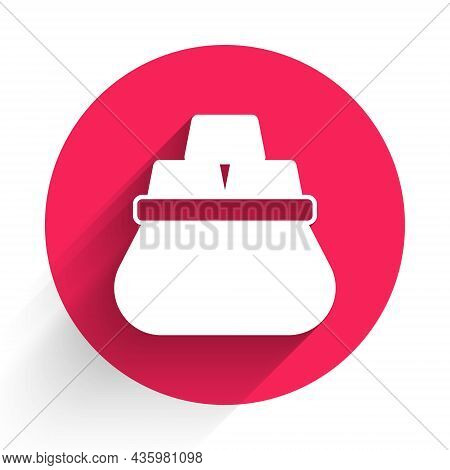 White Bag Of Gold Bars Icon Isolated With Long Shadow Background. Sack With Golden Bars. Red Circle