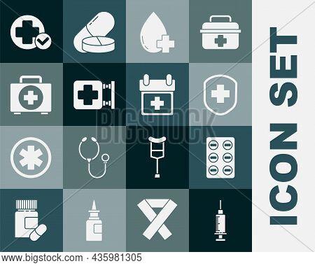Set Syringe, Pills Blister Pack, Medical Shield With Cross, Donate Drop Blood, Hospital Signboard, F