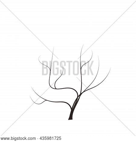 Bald Handdraw Tree Vector Illustration Element For Game Design. Winter Tree Without Crown. Dead Tree