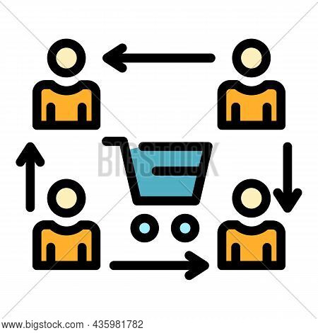 Process Of Sales Icon. Outline Process Of Sales Vector Icon Color Flat Isolated