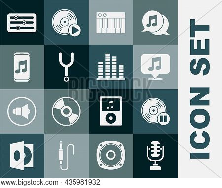 Set Microphone, Vinyl Disk, Musical Note Speech Bubble, Synthesizer, Tuning Fork, Player, Sound Mixe
