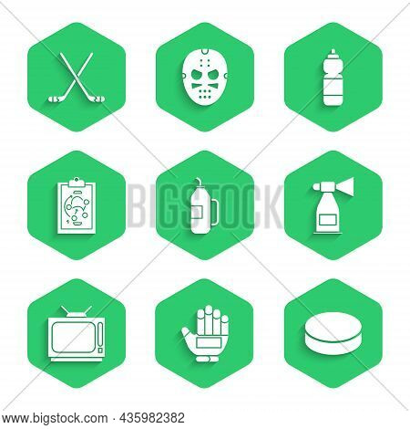 Set Fitness Shaker, Hockey Glove, Puck, Air Horn, Retro Tv, Planning Strategy, And Ice Hockey Sticks